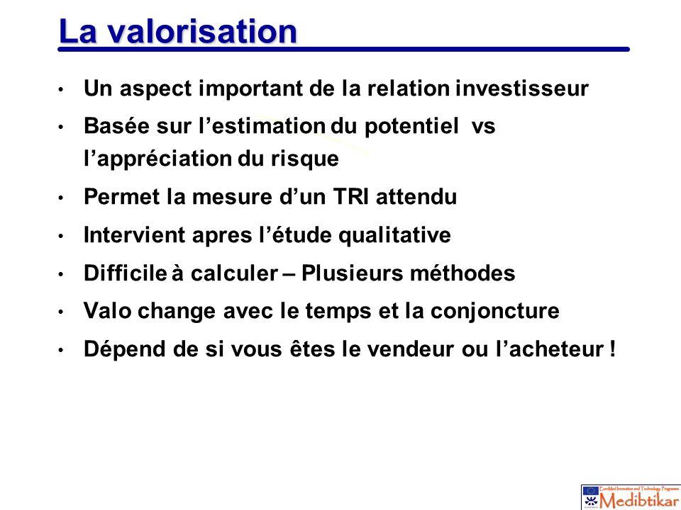 La valorisation Un aspect important de la relation investisseur