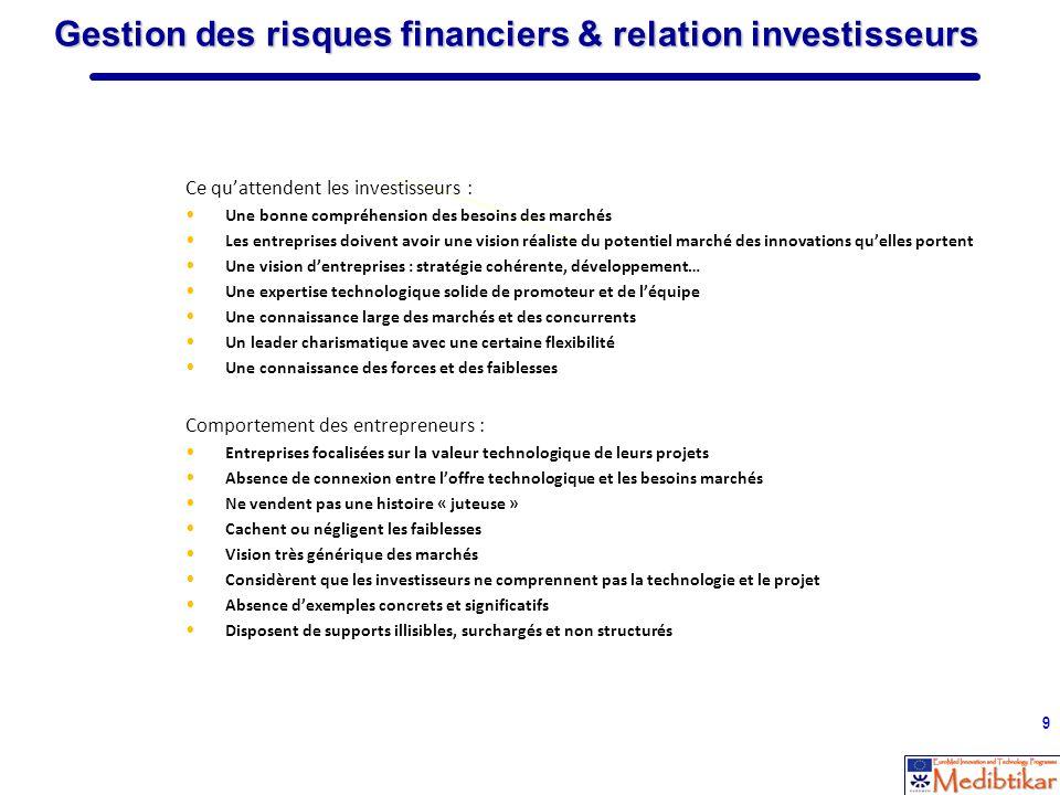 Gestion des risques financiers & relation investisseurs