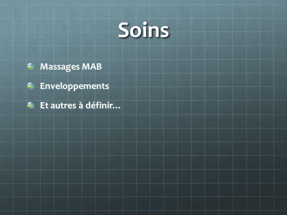 Soins Massages MAB Enveloppements Et autres à définir…