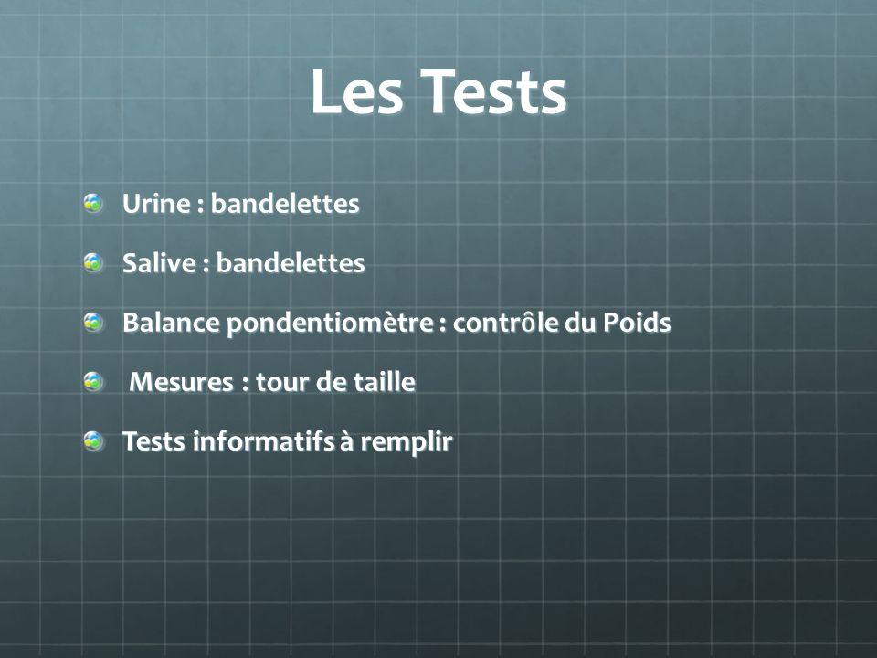 Les Tests Urine : bandelettes Salive : bandelettes