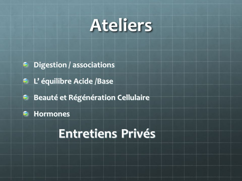 Ateliers Digestion / associations L' équilibre Acide /Base