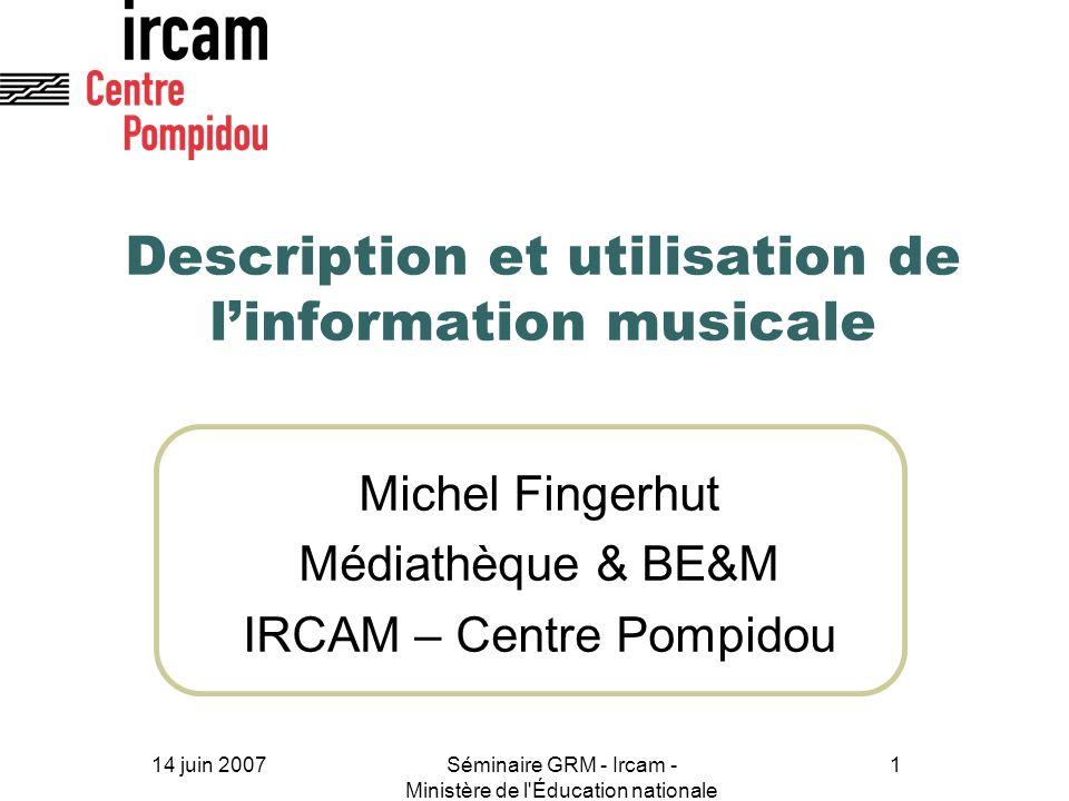 Description et utilisation de l'information musicale