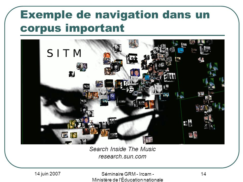 Exemple de navigation dans un corpus important