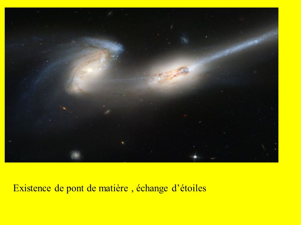 Existence de pont de matière , échange d'étoiles