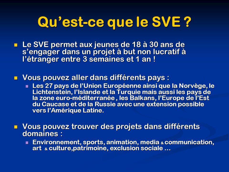 Qu'est-ce que le SVE Le SVE permet aux jeunes de 18 à 30 ans de s'engager dans un projet à but non lucratif à l'étranger entre 3 semaines et 1 an !