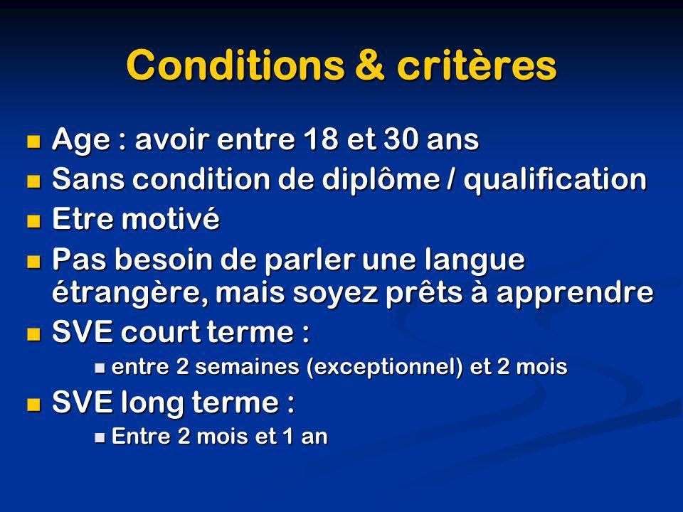 Conditions & critères Age : avoir entre 18 et 30 ans