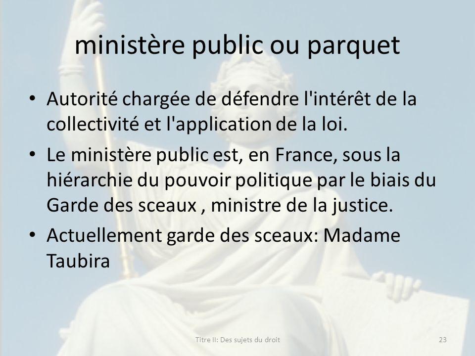 ministère public ou parquet