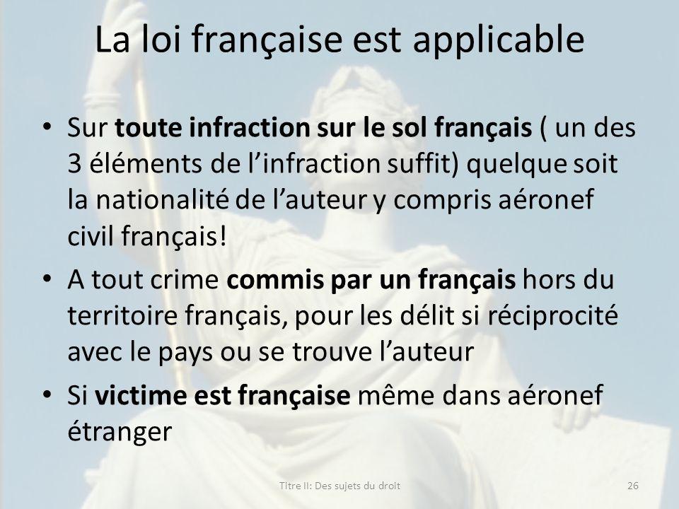 La loi française est applicable