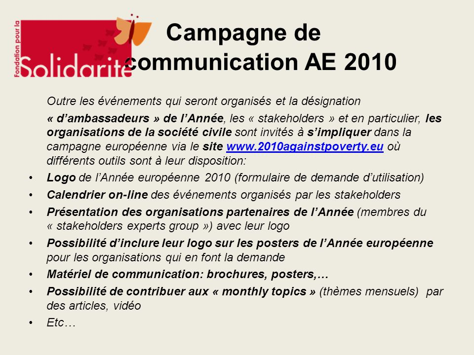 Campagne de communication AE 2010