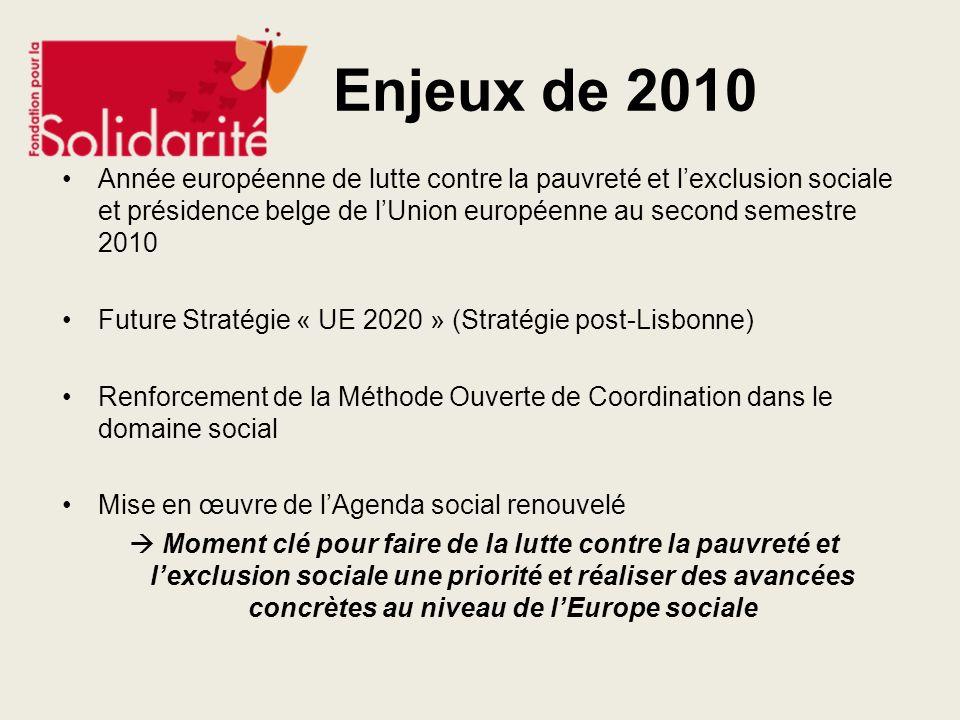 Enjeux de 2010Année européenne de lutte contre la pauvreté et l'exclusion sociale et présidence belge de l'Union européenne au second semestre 2010.