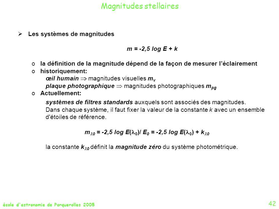 m0 = -2,5 log E(0)/ E0 = -2,5 log E(0) + k0