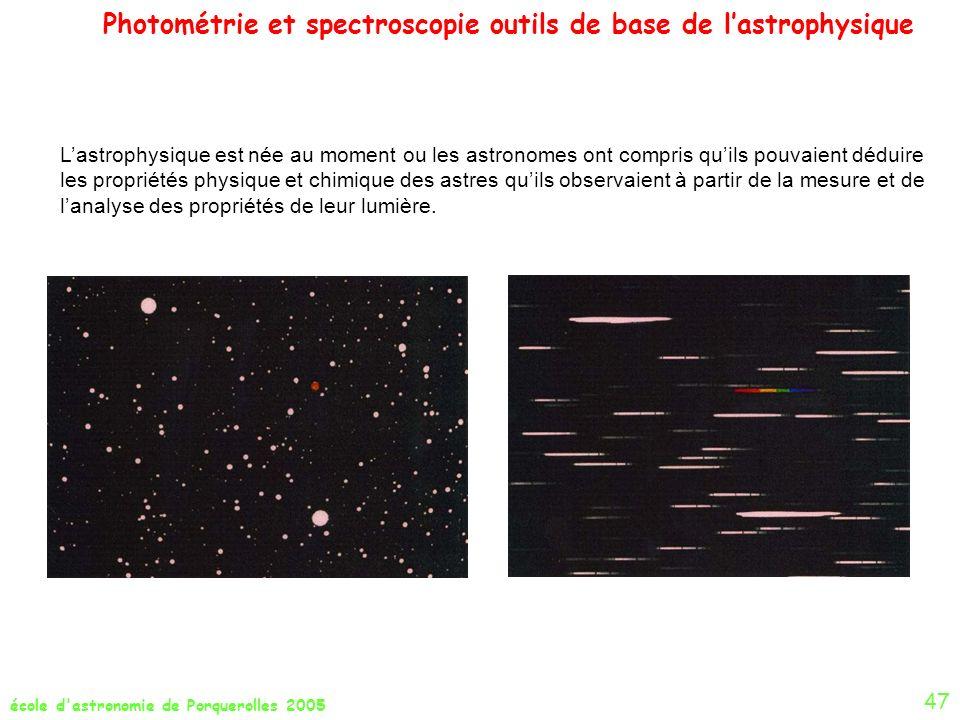 Photométrie et spectroscopie outils de base de l'astrophysique