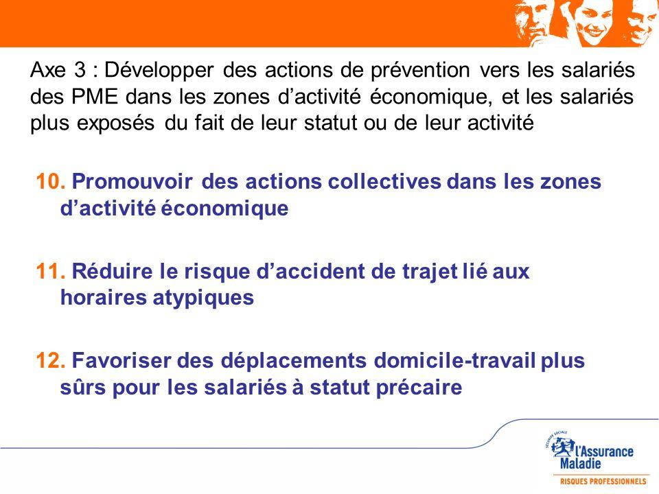 Axe 3 : Développer des actions de prévention vers les salariés des PME dans les zones d'activité économique, et les salariés plus exposés du fait de leur statut ou de leur activité