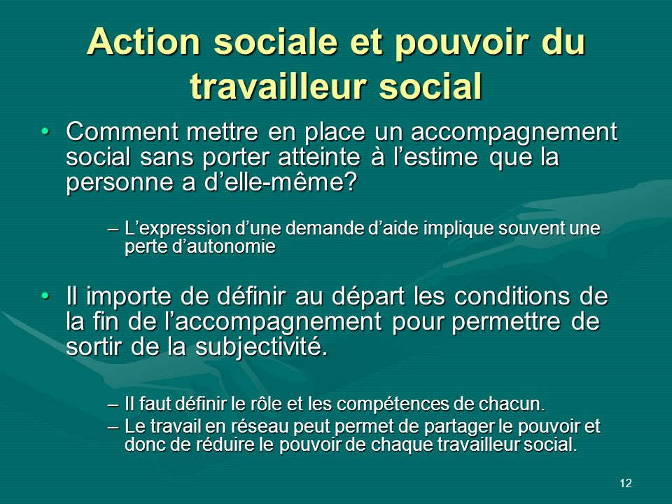 Action sociale et pouvoir du travailleur social
