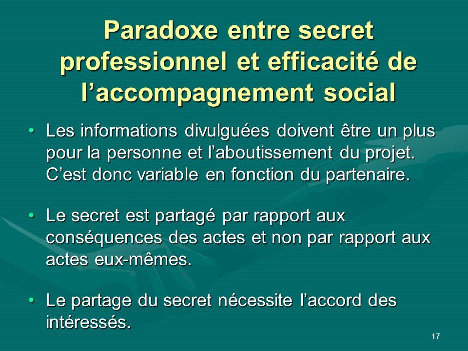 Paradoxe entre secret professionnel et efficacité de l'accompagnement social
