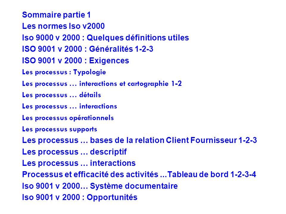 Sommaire partie 1 Les normes Iso v2000. Iso 9000 v 2000 : Quelques définitions utiles. ISO 9001 v 2000 : Généralités 1-2-3.