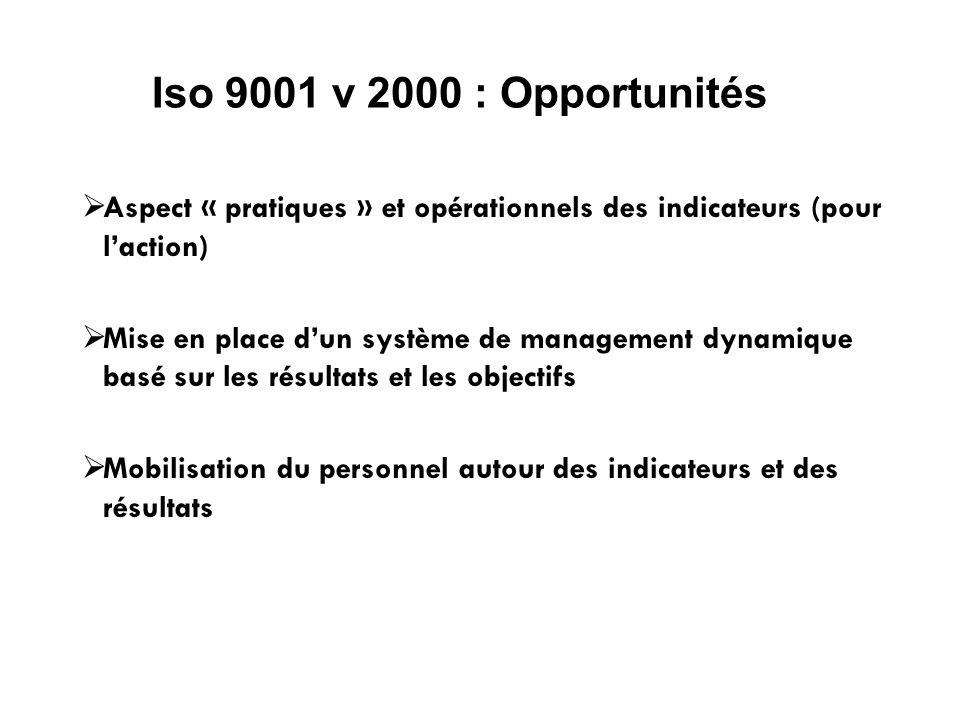 Iso 9001 v 2000 : Opportunités Aspect « pratiques » et opérationnels des indicateurs (pour l'action)