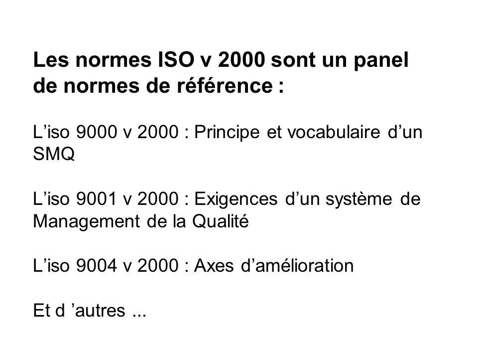Les normes ISO v 2000 sont un panel de normes de référence : L'iso 9000 v 2000 : Principe et vocabulaire d'un SMQ L'iso 9001 v 2000 : Exigences d'un système de Management de la Qualité L'iso 9004 v 2000 : Axes d'amélioration Et d 'autres ...