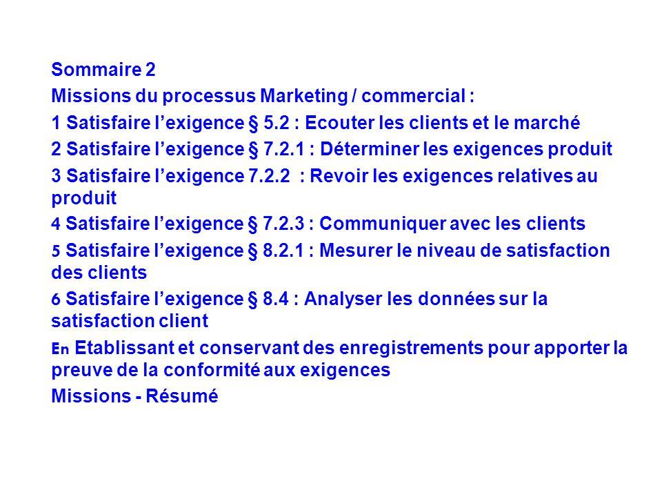 Sommaire 2 Missions du processus Marketing / commercial : 1 Satisfaire l'exigence § 5.2 : Ecouter les clients et le marché.