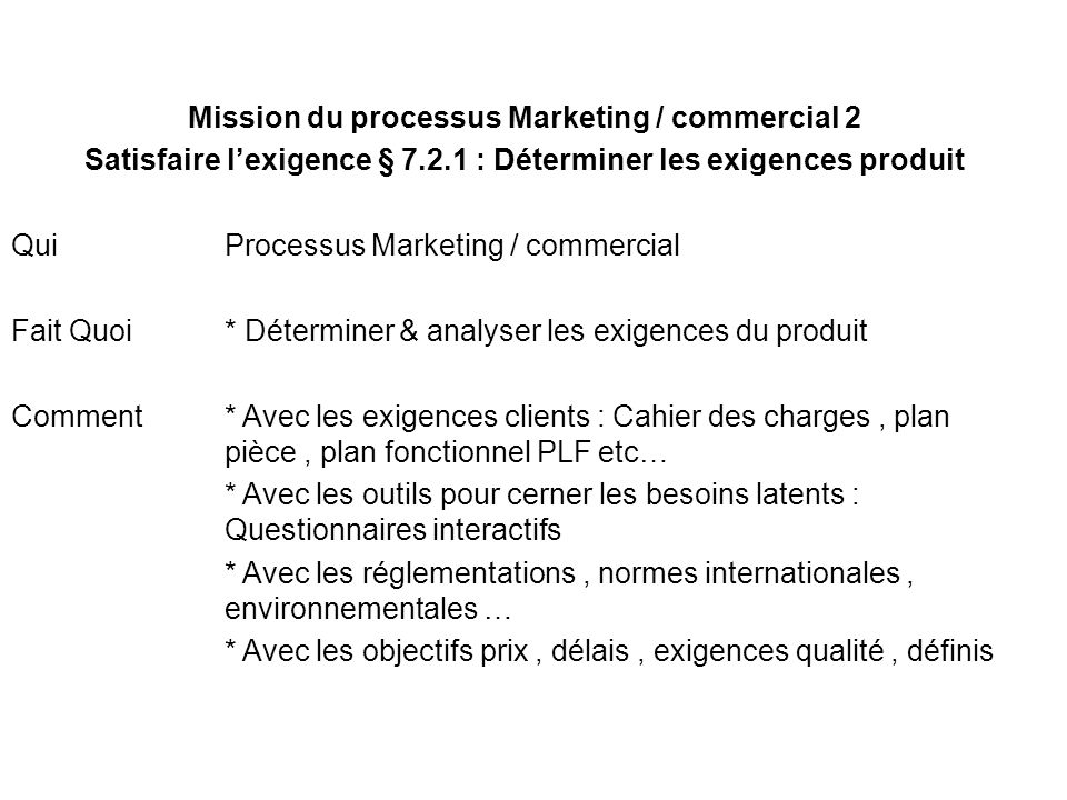 Mission du processus Marketing / commercial 2