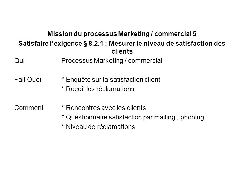 Mission du processus Marketing / commercial 5