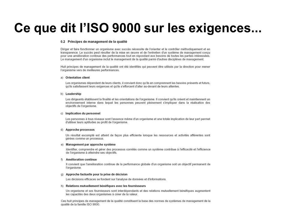 Ce que dit l'ISO 9000 sur les exigences...