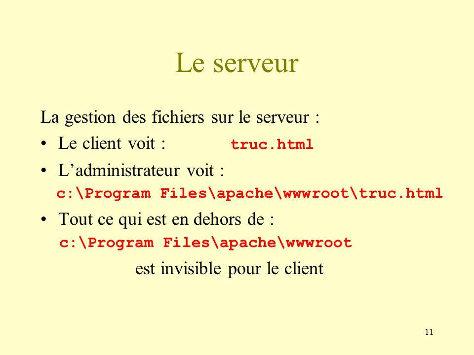 Le serveur La gestion des fichiers sur le serveur :