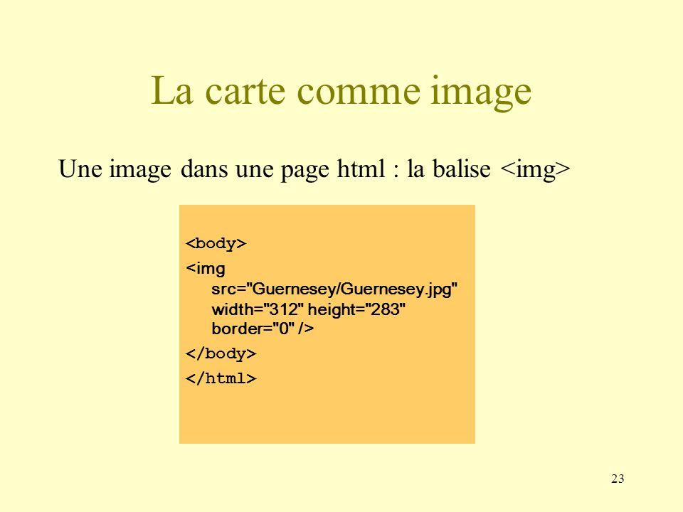 La carte comme imageUne image dans une page html : la balise <img> <body> <img src= Guernesey/Guernesey.jpg width= 312 height= 283 border= 0 />