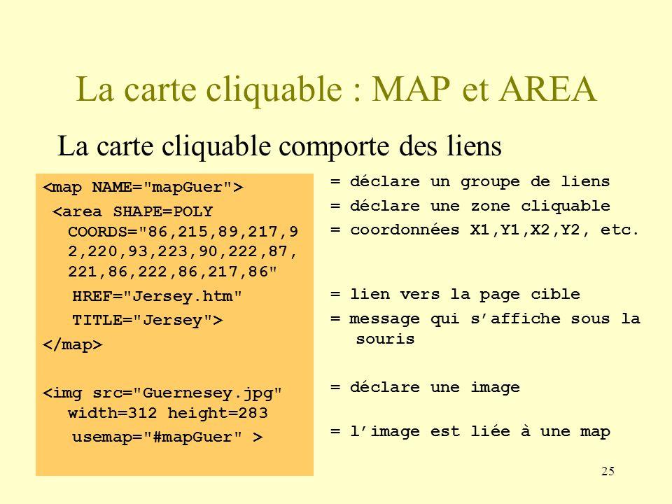 La carte cliquable : MAP et AREA