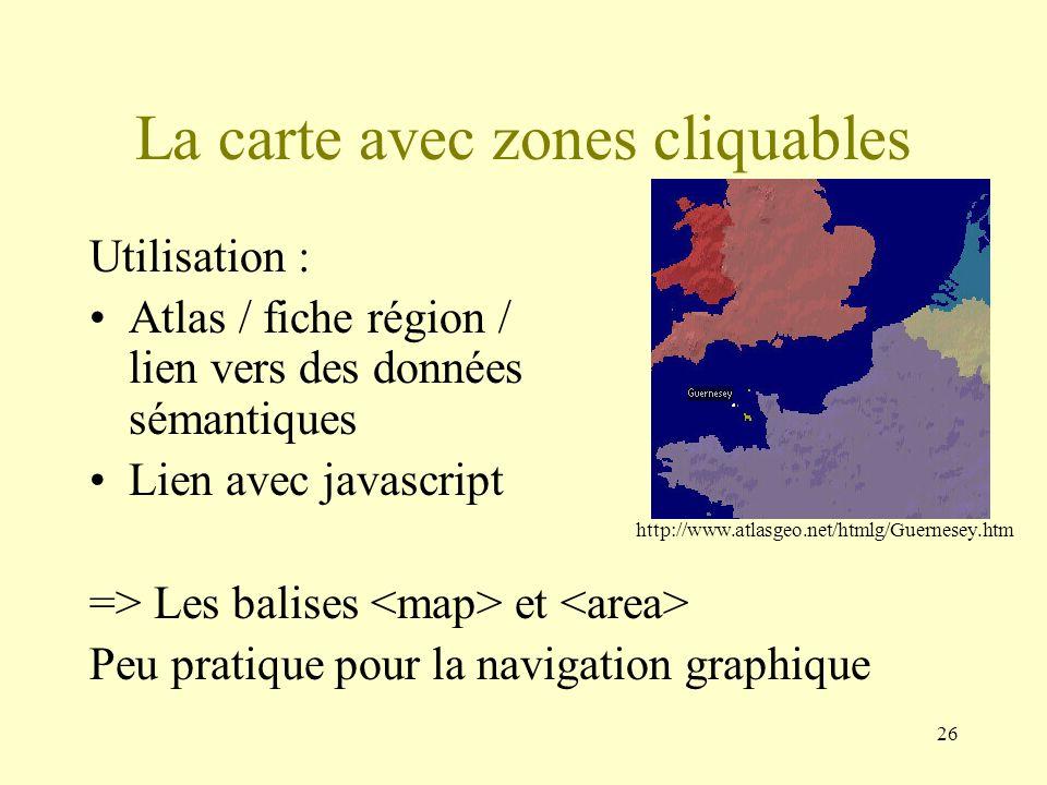La carte avec zones cliquables
