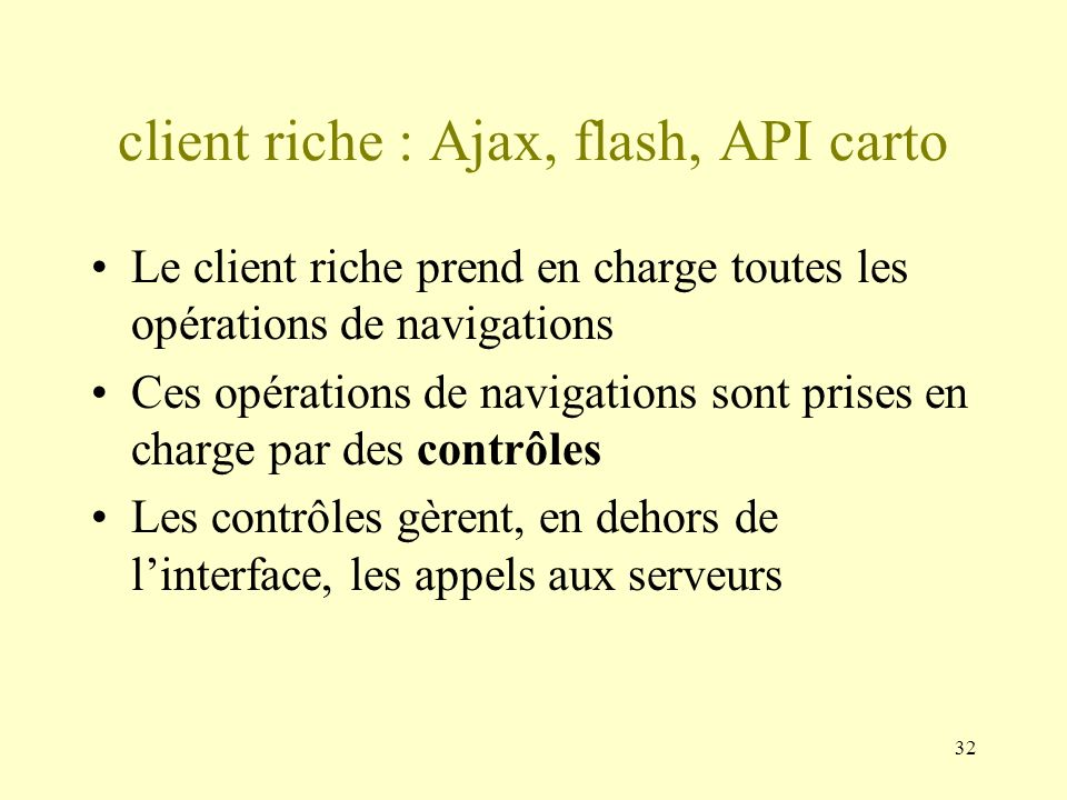 client riche : Ajax, flash, API carto