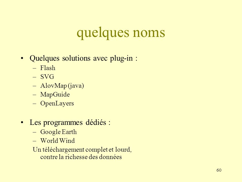 quelques noms Quelques solutions avec plug-in :