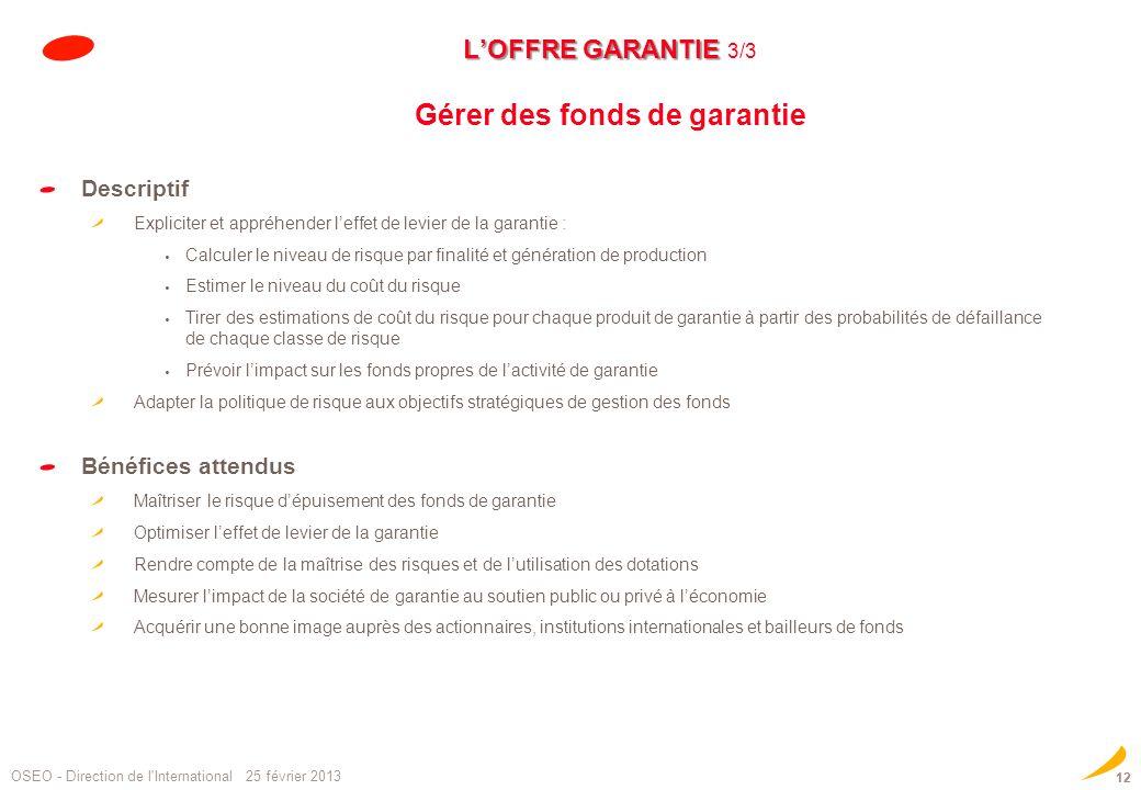 L'OFFRE GARANTIE 3/3 Gérer des fonds de garantie