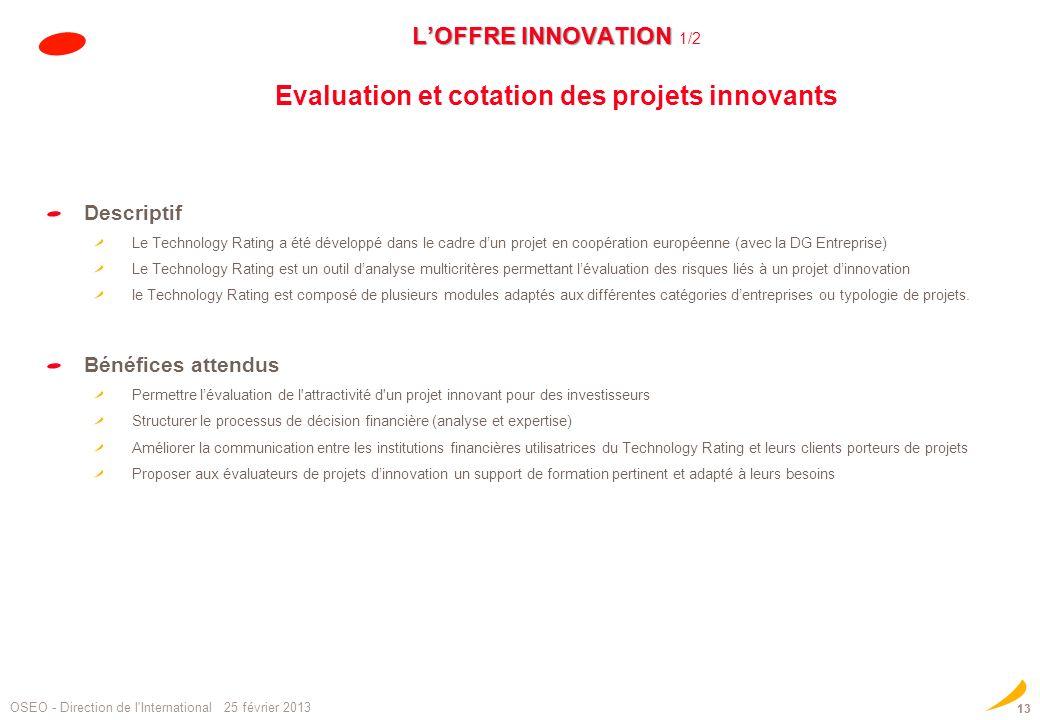 L'OFFRE INNOVATION 1/2 Evaluation et cotation des projets innovants