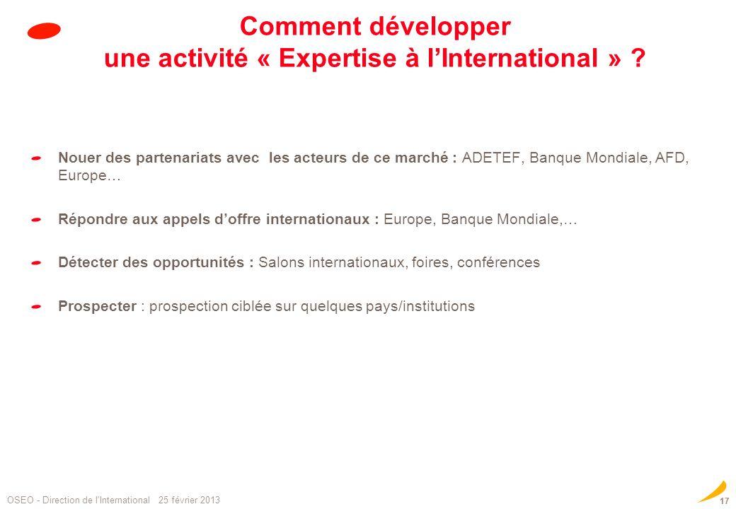 Comment développer une activité « Expertise à l'International »