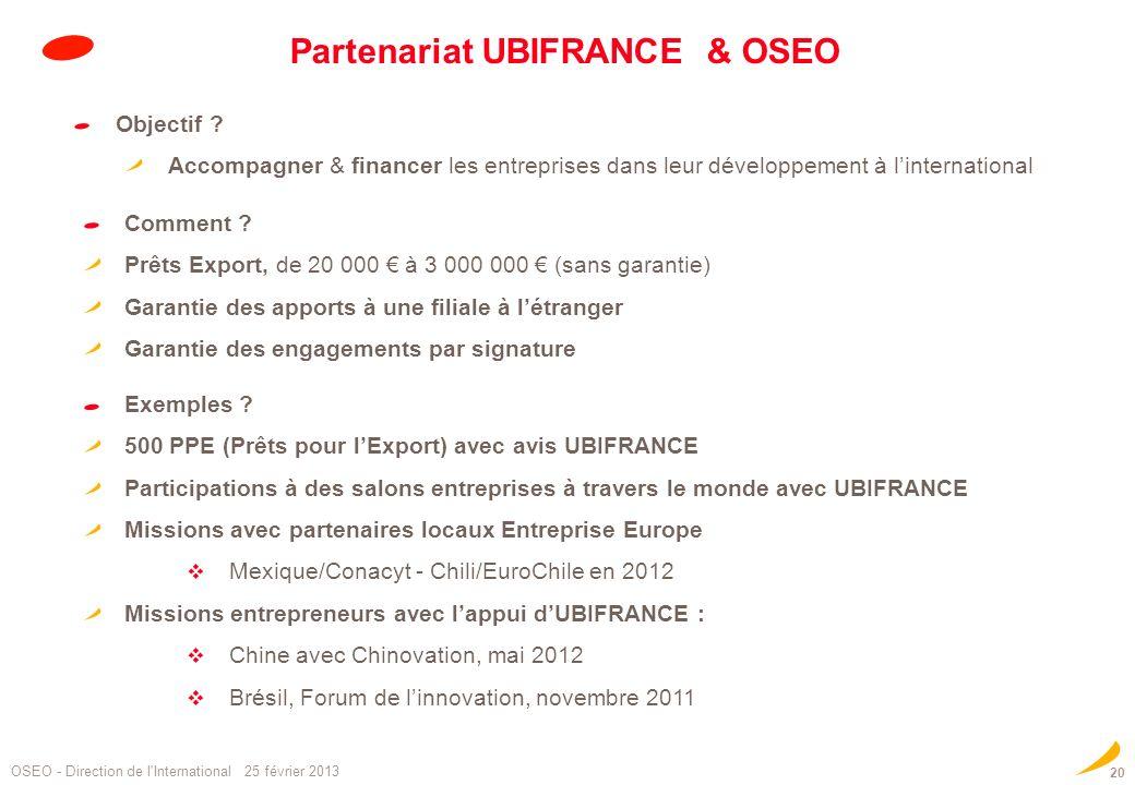Partenariat UBIFRANCE & OSEO