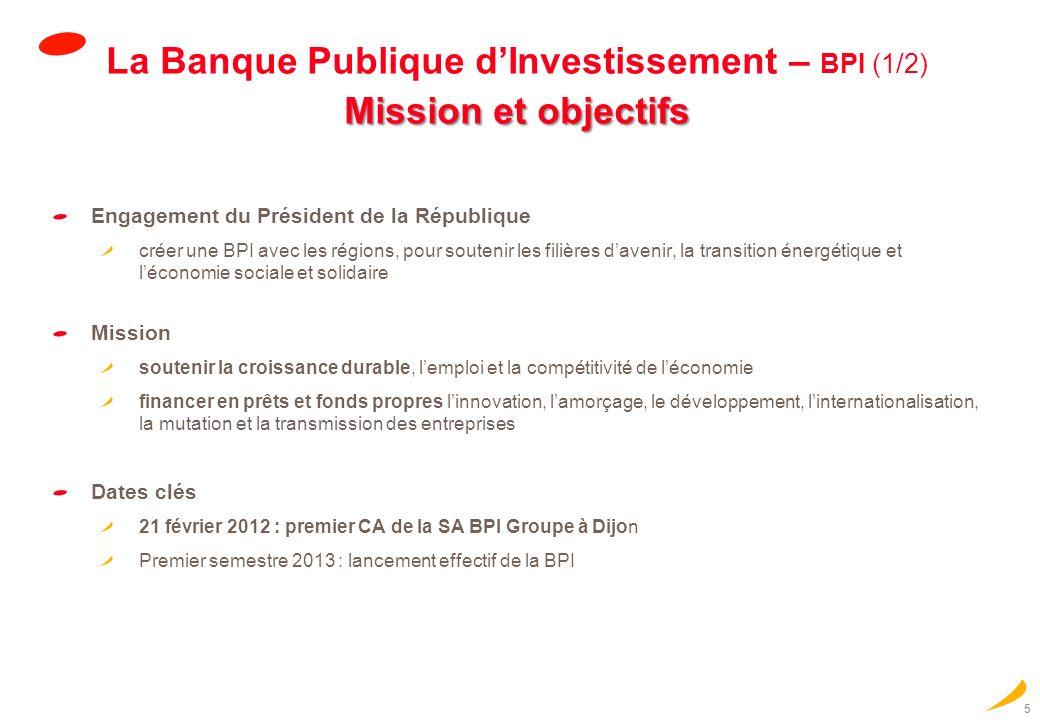 La Banque Publique d'Investissement – BPI (1/2) Mission et objectifs