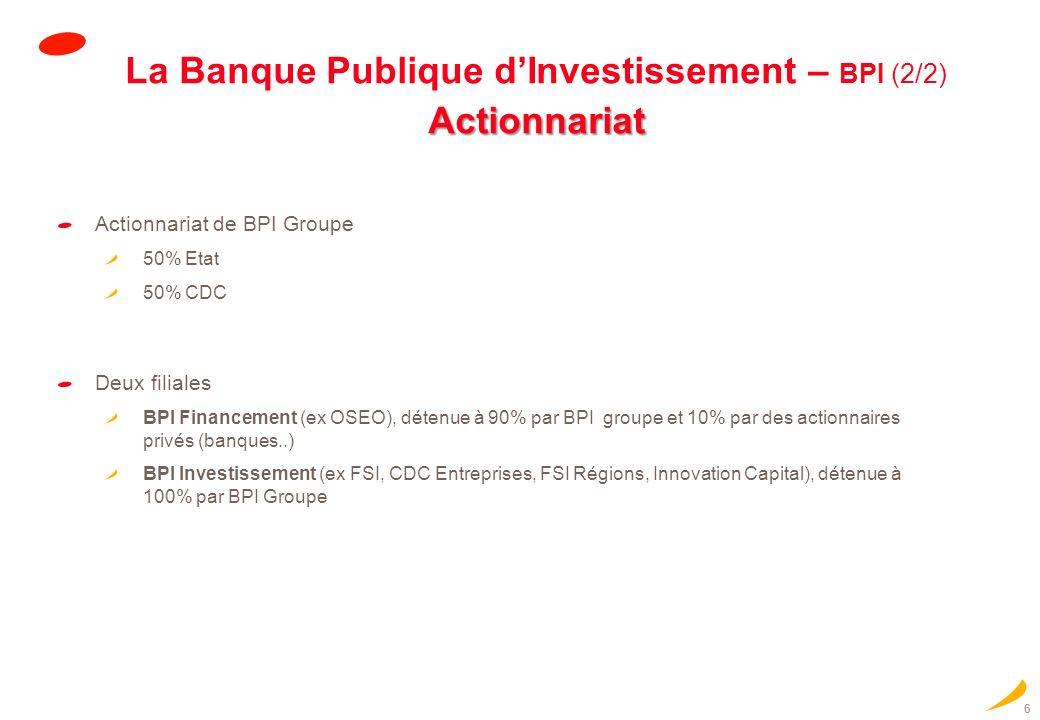 La Banque Publique d'Investissement – BPI (2/2) Actionnariat