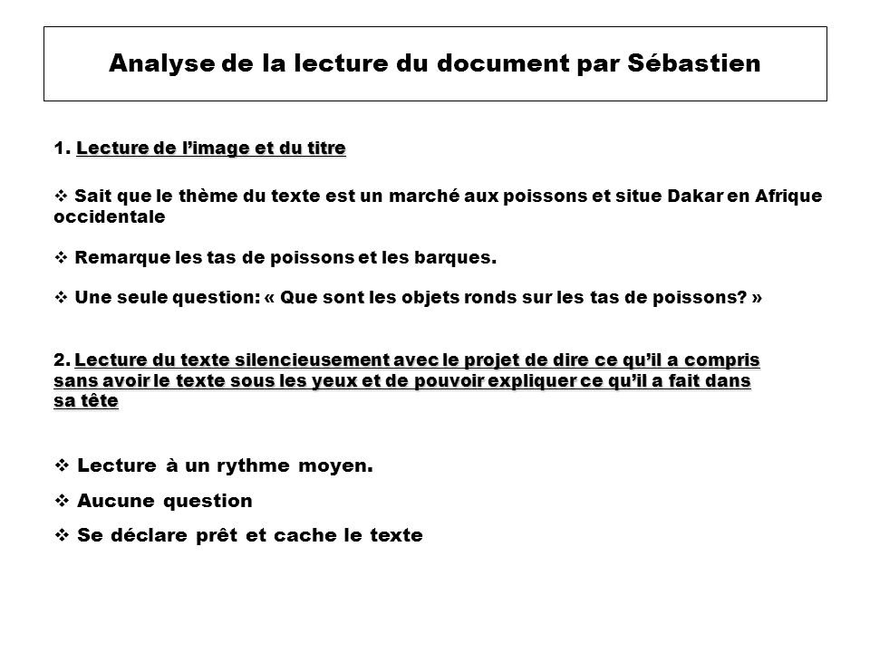 Analyse de la lecture du document par Sébastien