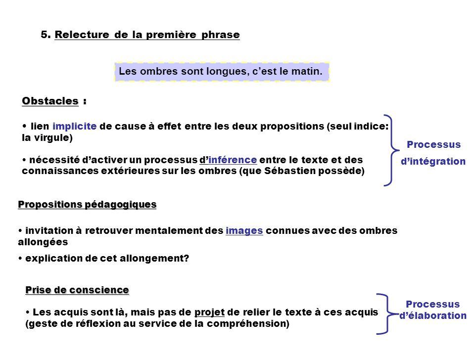 5. Relecture de la première phrase