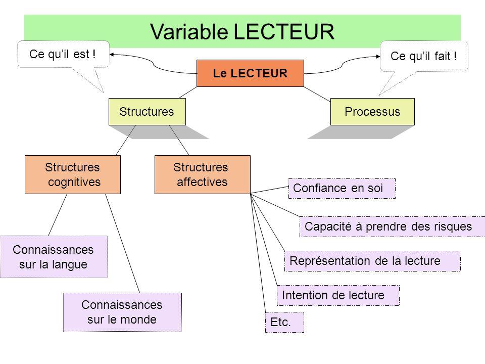 Variable LECTEUR Ce qu'il est ! Ce qu'il fait ! Le LECTEUR Structures
