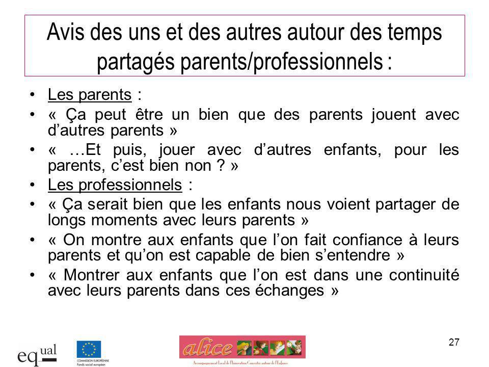 Avis des uns et des autres autour des temps partagés parents/professionnels :