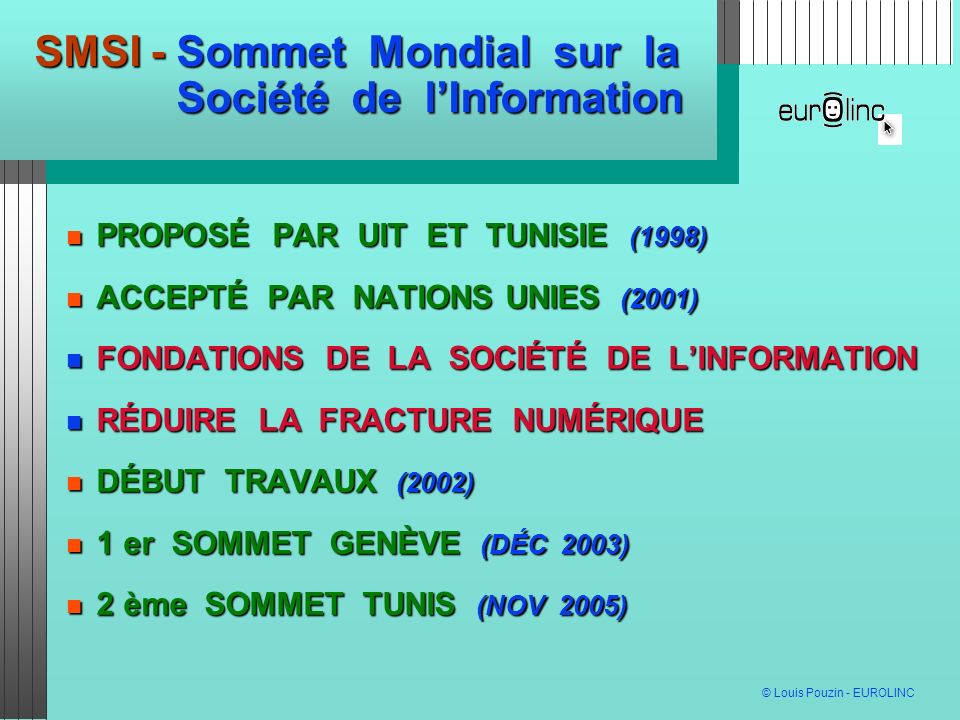 SMSI - Sommet Mondial sur la Société de l'Information