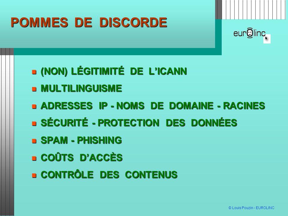 POMMES DE DISCORDE (NON) LÉGITIMITÉ DE L'ICANN MULTILINGUISME