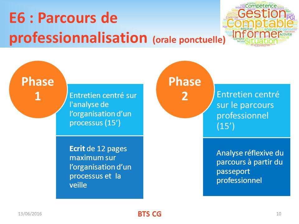 E6 : Parcours de professionnalisation (orale ponctuelle)