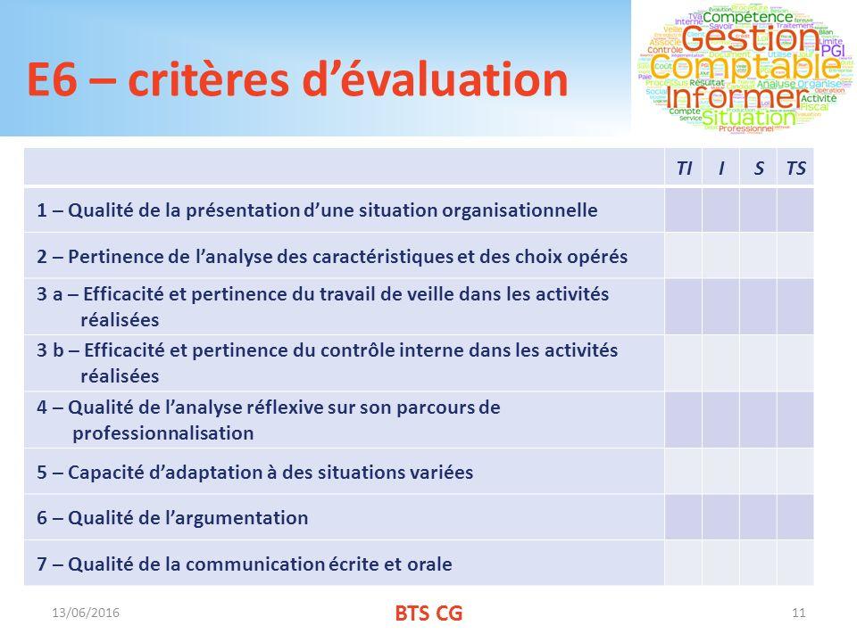 E6 – critères d'évaluation