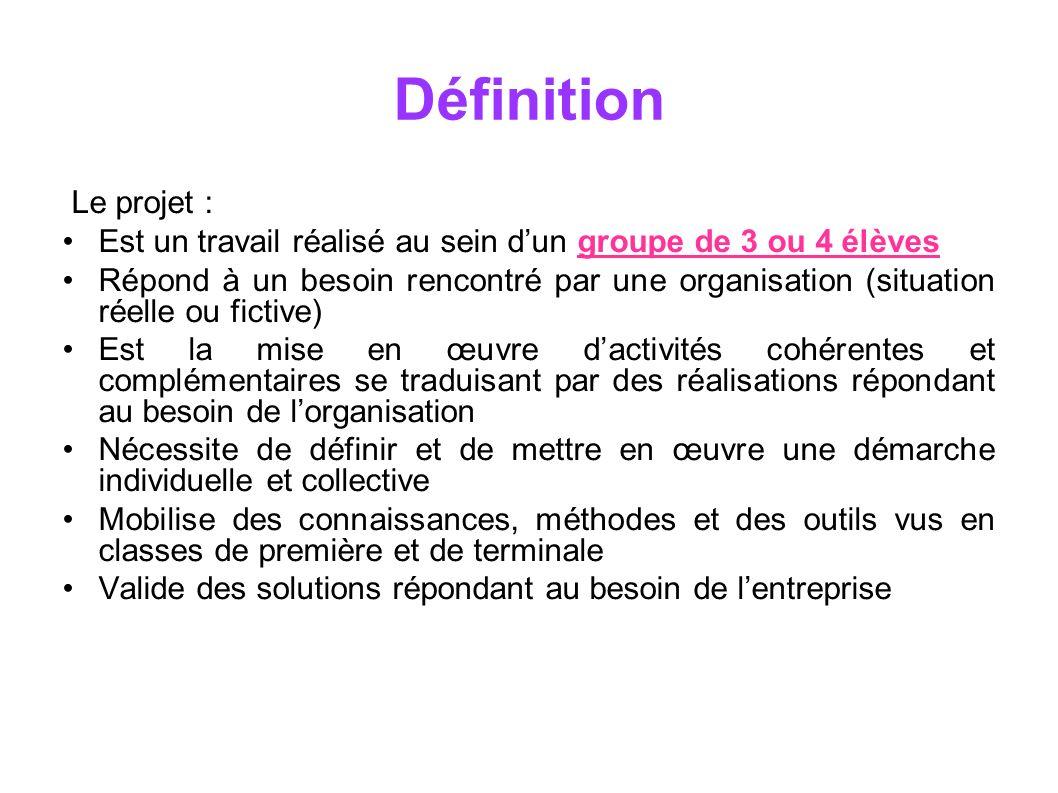 Définition Le projet : Est un travail réalisé au sein d'un groupe de 3 ou 4 élèves.