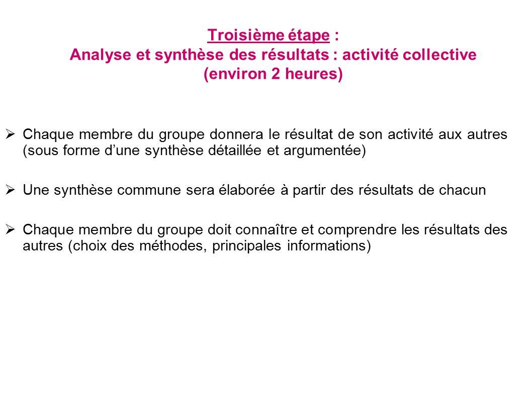 Troisième étape : Analyse et synthèse des résultats : activité collective (environ 2 heures)