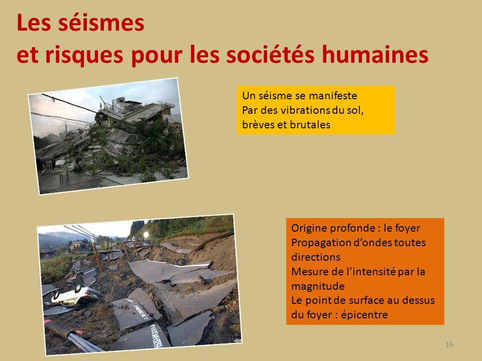 Les séismes et risques pour les sociétés humaines