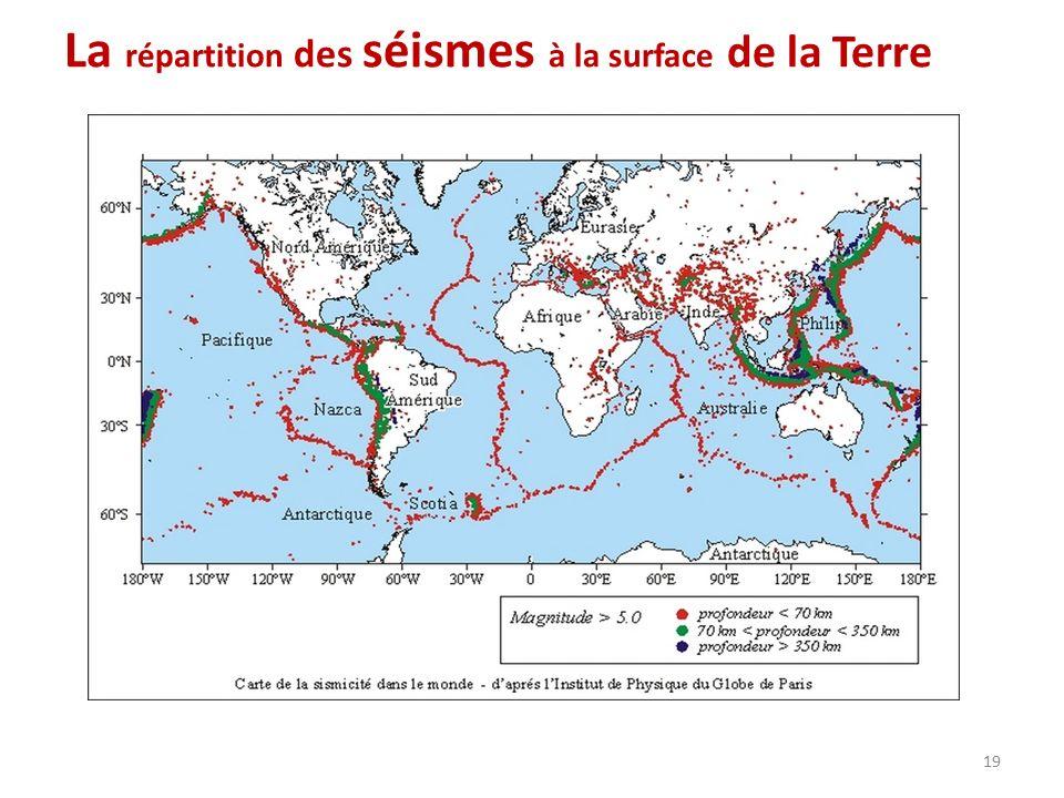 La répartition des séismes à la surface de la Terre